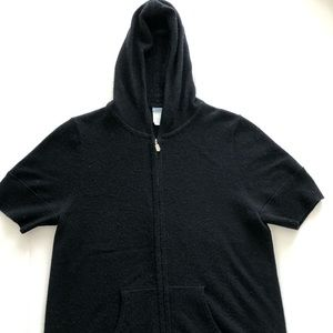 Jcrew Black Hooded Short Sleeve Cashmere Sweater